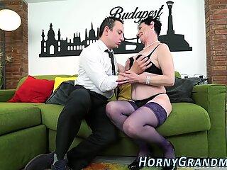 Granny in stockings sucks