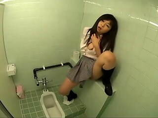 Japanese girls masturbating and squirting on toilet