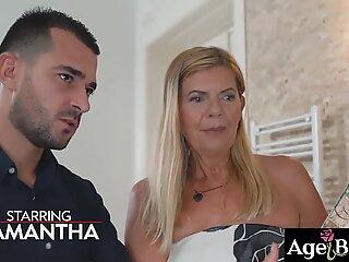 Young dominating man John licks,  fingered and banged old woman Samantha