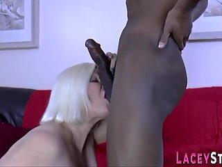 British granny riding big black dick