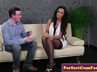 Busty british milf facialized after blowjob