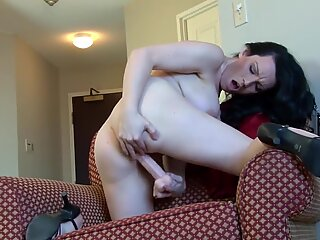 Amateur busty mom fucks pussy with rubber cock