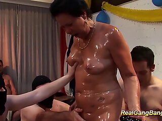 horny german grandmas first extreme oiled ganggang swinger fuck party orgy