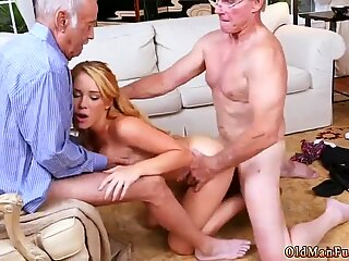 Two old guys fucking busty blonde