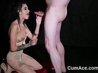 Hot idol gets jizz load on her face eating all the cream