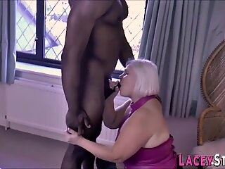 Sucking grandmother in boots gets banged