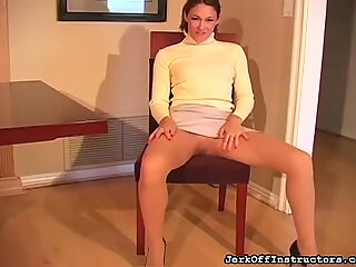 Sexy closeup show of hairy pussy and feet in hose