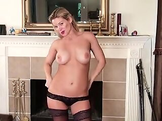 Busty blonde mom cums on her toy