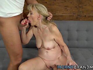 Old women cum sprayed