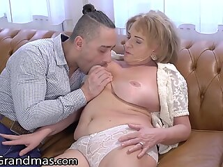 Mature Gets her Titties Sucked and Young Dick Injected