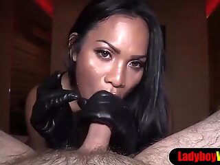 Pretty faced asian ladyboy gets barebacked POV style