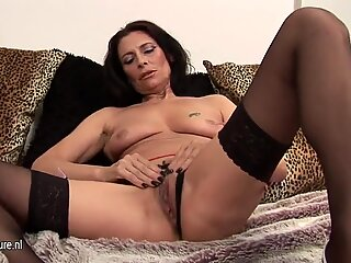 Hot and horny granny playing with herself