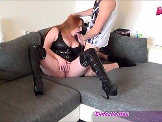 German big natural tits girl in latex homemade porn