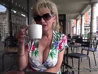Lady Sonia flashes in public then sucks a cock