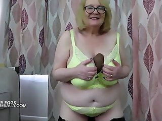 Busty British Granny flashes her big Easter eggs