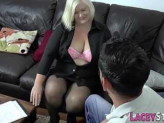 Busty plump grandmother gobbles cock